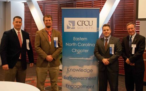 Kenan Johnston, CPCU & William Strathmann, CPCU with Chapter President