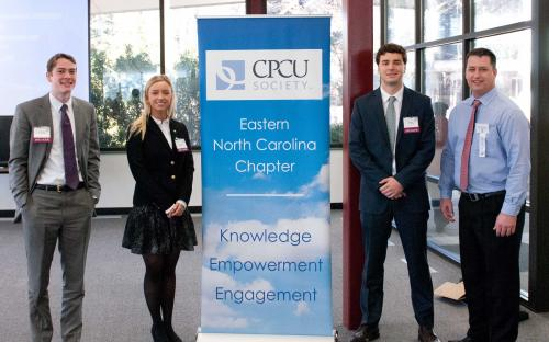 ECU Risk Management Program, Zach Casey, Joe Dyer, Katie Swanner, CPCU Chapter President Dennis Carroll